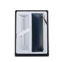 Calais Satin Chrome Ballpoint Pen w/Classic Midnight Blue Pouch Gift Set